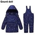 Los bebés de la muchacha ropa de invierno fijó 90% espesar abajo nieve de plumas desgaste del cabrito trajes para niños hacia abajo y abrigos esquimales Adecuado 10-24 meses