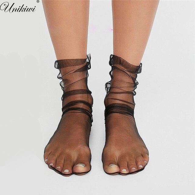 Unikiwi. Для женщин Новинка шифон Прозрачный сетки носки. стильная женская обувь ультра-тонкий газовые носки женские Meias.12 Цвета
