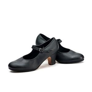 Image 5 - سانشا المهنية الفلامنكو الطابع الرقص الأحذية 6 سنتيمتر الأوسط عالية الكعب للنساء السيدات أسود أحذية رقص FL1CL FL1LS