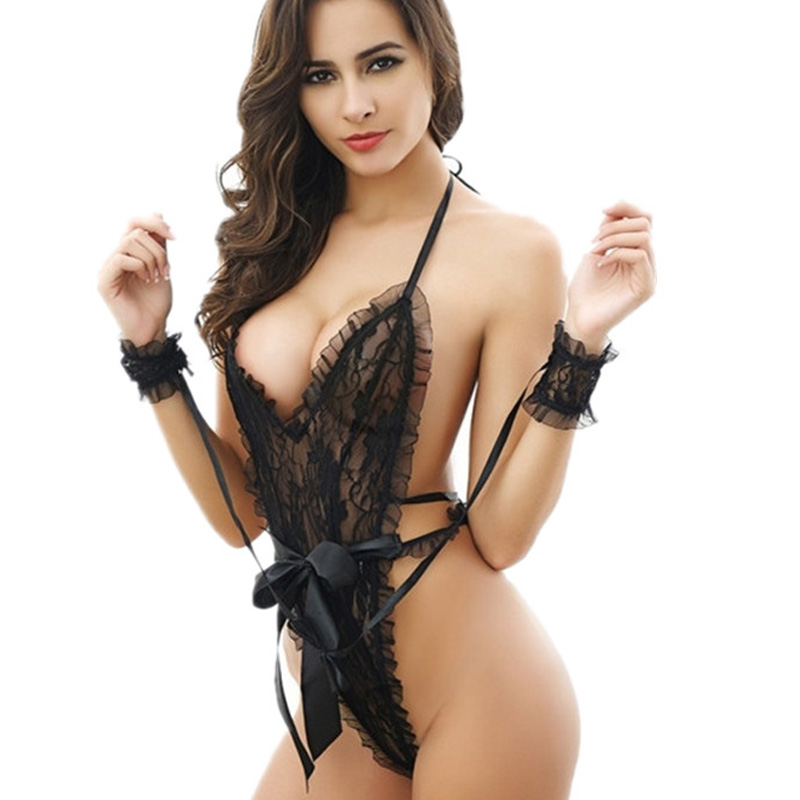 French Sexy Lingerie Slips Nightwear Romantic Sleepwear Sexy Shop Lace Intimates Women Underwear Hollow Out handcuffs Love Slip