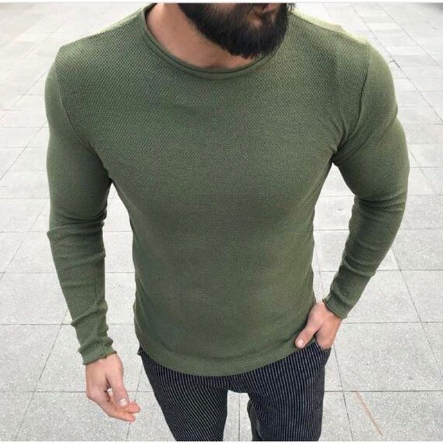 c5a5b7d5cab3 Autumn Men's Casual Sweater Fashion Slim Fit Crew Neck Pullovers Knitted  Jumpers long sleeve Spring Basic Tops outerwear