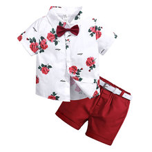 Fashion Toddler Boy Clothes Cotton Children Boys Summer Clothes Suit Short Sleeve Shirt And Shorts 2 Piece Kit Kids Clothing Set sodawn 2017 brother sister clothes summer new children clothse boysgirls lattice short sleeve shorts suit boy girls clothing set