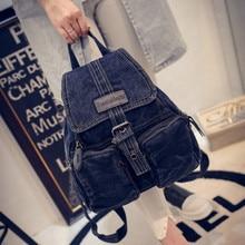 Women Denim Stonewash Backpack Vintage Retro Knapsack Rucksack Blue Small Fashion Buckle Zipper New Hot Travel Bags Student