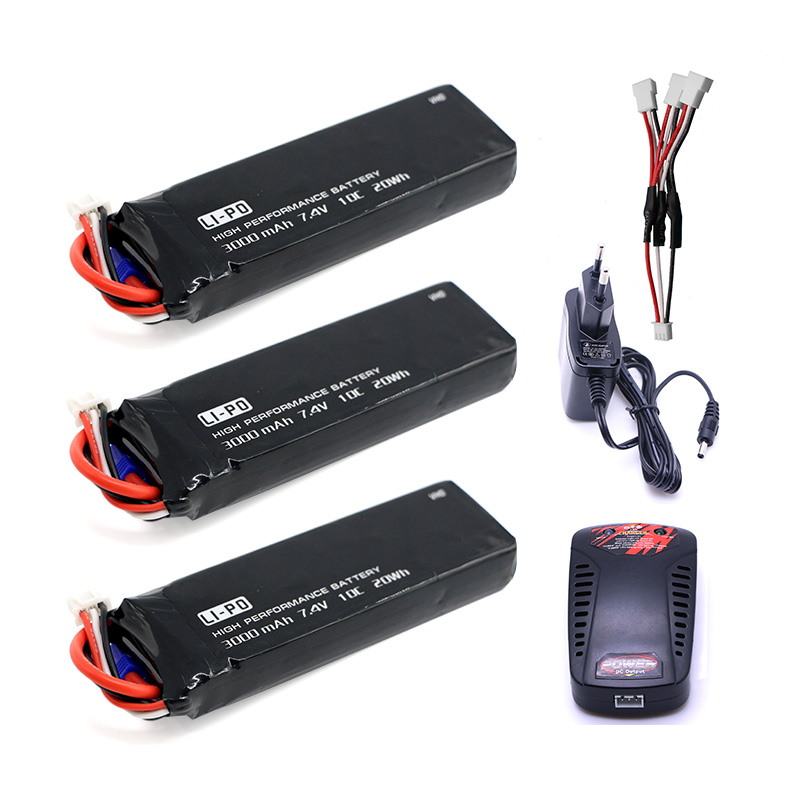 VHO 3PCS 7.4V 3000mAh 10C Hubsan H501S lipo battery Batteies cable for charger Hubsan H501C rc Quadcopter Airplane drone Spar 4pcs 7 4v 2700mah 10c hubsan h501s lipo battery batteies with cable for charger hubsan h501c rc quadcopter airplane drone spar
