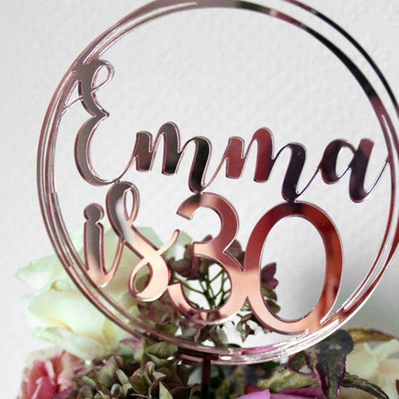 Personalised Birthday Cake Topper Acrylic Rose Gold Custom Name Circle Toppers 18th 20th 21th 30th 50th 80th (1)