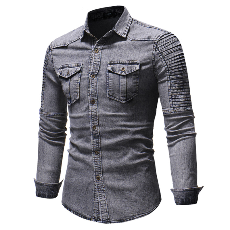 Men Shirt Brand 2019 Male High Quality Long Sleeve Casual Shirts Pleated stitching Slim Fit Man Dress Shirts Camisa Masculina in Casual Shirts from Men 39 s Clothing
