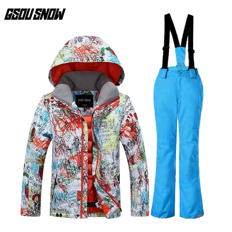 GSOU SNOW 2017 nouveau costume de Ski pour enfants coupe-vent Waterproo chaud Ultra léger respirant veste de Ski pantalon de Ski pour les enfants