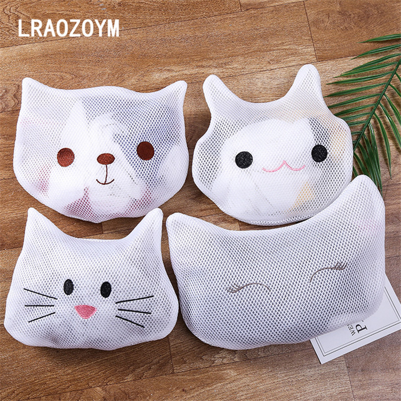 LRAOZOYM Laundry Basket Bags Cute Cartoon Desgin Thickened Polyester Sandwich Material Underwear Bra Sock Sleeve Care Bag LR171