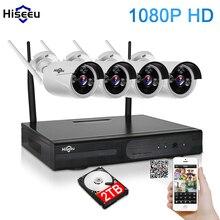 1080 P Wireless CCTV Sistema 2 TB HDD 4CH 2MP Powerful NVR IP Sistema de Seguridad CCTV de la Bala Cámara IP IR-CUT de Vigilancia Kits hiseeu