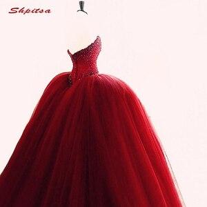 Image 4 - Luksusowe kryształy Quinceanera suknie suknia Sweetheart Tulle Red Prom debiutant szesnaście 15 słodka 16 sukienka vestidos de 15 anos