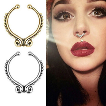 Women Fake Septum Clicker Nose Ring Non Piercing Body Jewelry 1pc
