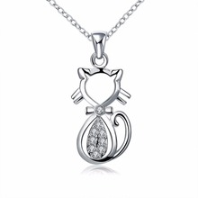 Silver Cat Animal pendants charm necklace silver crystal necklace fashion jewelry women necklace collar