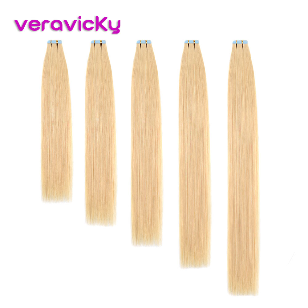 Veravicky Blonde Skin Weft Human Hair Straight 20pcs Tape In Extension Remy Hair Double Sided Tape Hair