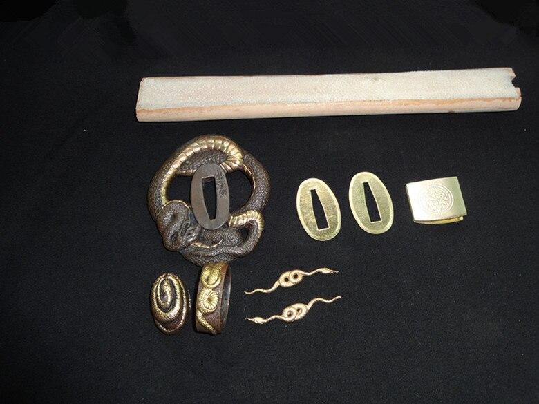 Conjunto de protección de serpiente Tsuba de cobre de alta calidad para espada samurái japonesa Katana accesorio + Piel de pez y madera-in Espadas from Hogar y Mascotas    3