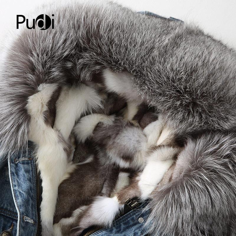 Manteau Femmes Pudi Laine Veste Doublure Pardessus De Chaud Réel Black A68664 Capuchon Coton Parka Argent Fourrure blue D'hiver Longue Renard Lady r1qAYnxq