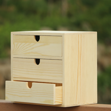 Home decoration storage wood small drawer 3 layer nature nightstand