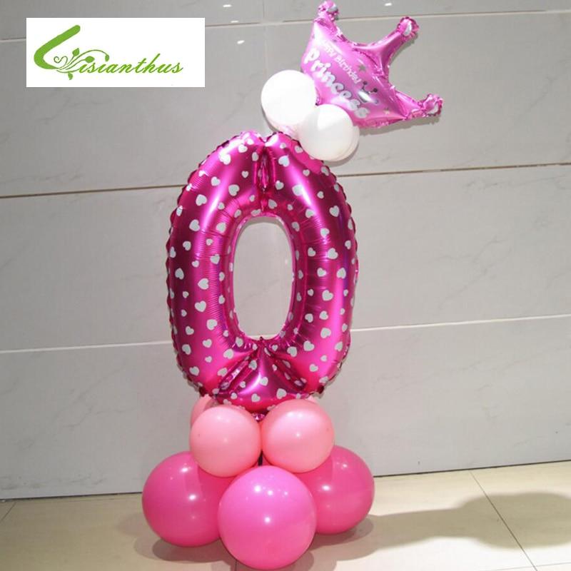 d8faa0314 Número de Dígitos Balões Folha Infláveis Bolas de Ar Criança Feliz Festa de  Aniversário Decoração balões De Hélio De Alumínio Balões Fontes Do  Casamento 1  ...