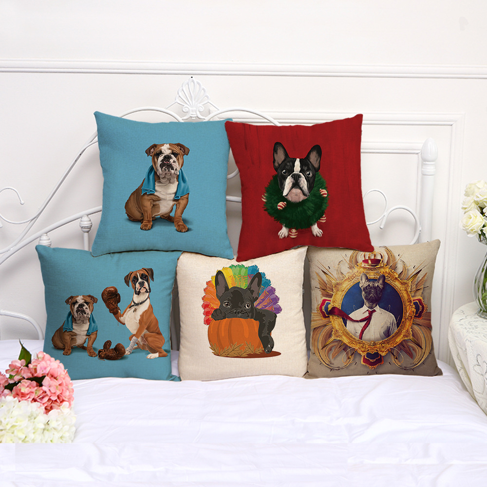 Creative Bulldog Dog Animal Casual Cushion Cover Cotton Linen Decorative Pillowcase Chair Seat Square 45x45cm Pillow Cover A1127
