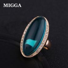 MIGGA элегантный зеленый полу кольцо с драгоценным камнем для женщин Дамы Розовое Золото Вечерние партии подарок интимные аксессуары