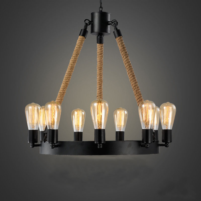 Nordic Industrial Retro hemp rope Pendant Light 9 arms E27 wrought iron Creative Clothing shop restaurant cafe bar hanging lamp