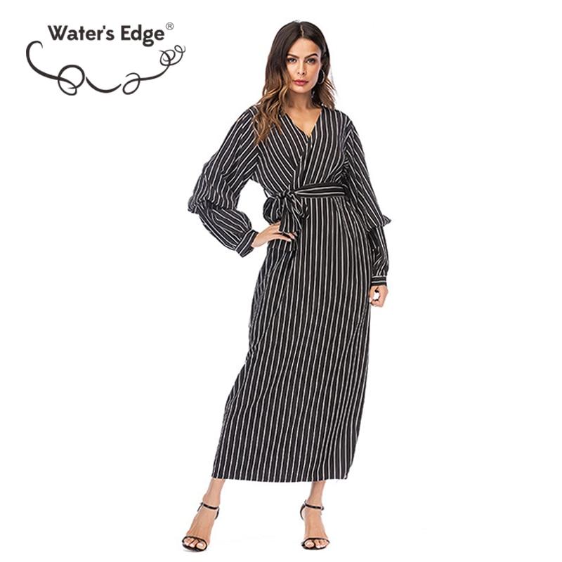 Water Edge Fashion Striped Lös V-Neck Summer Dress Plus Storlek Bow - Damkläder