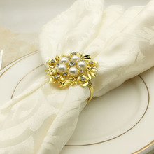 5PCS hotel set table pearl alloy flower napkin buckle ring cloth mat towel