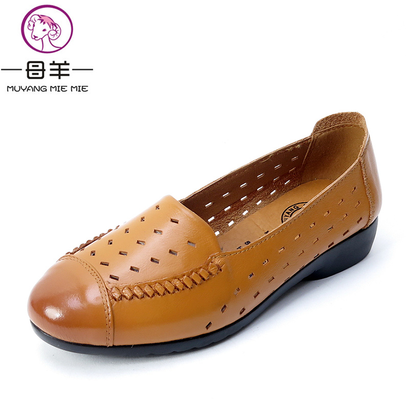 MUYANG MIE MIE Genuine Leather Flat Sandals Fashion Summer Women Shoes Woman Soft Comfortable Sandals Women Sandals muyang mie mie women flats fashion lacing casual shoes woman genuine leather comfortable flat shoes women shoes