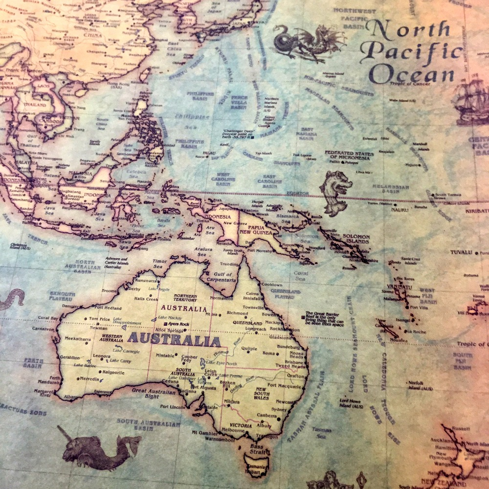 35x71cm Large Classic World Map Kraft Paper Paint vintage Wall