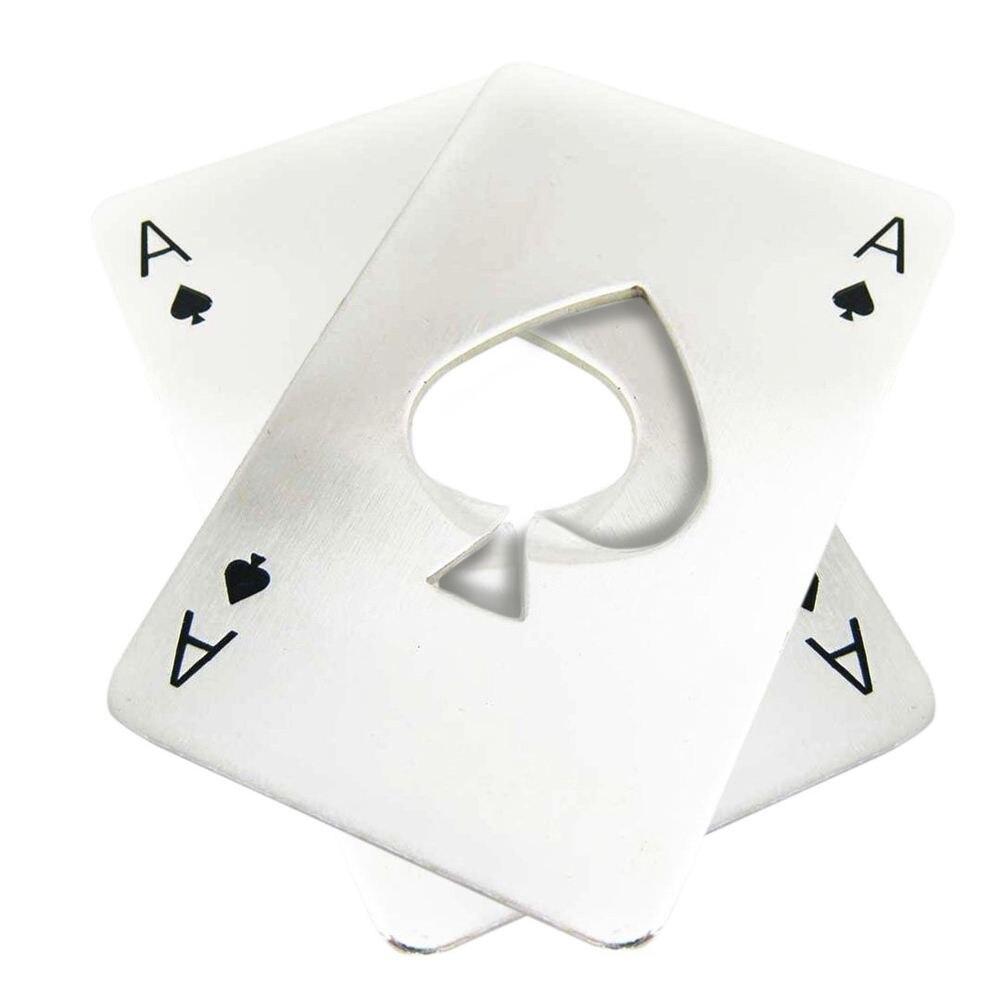 UESH-2x Credit Card Size Casino Bottle Opener Silver