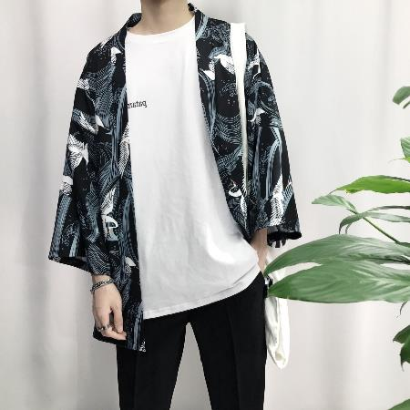 2018 summer japanese style men three quarter sleeve cotton & linen streetwear kimono Hip Hop Casual Outerwear Jacket