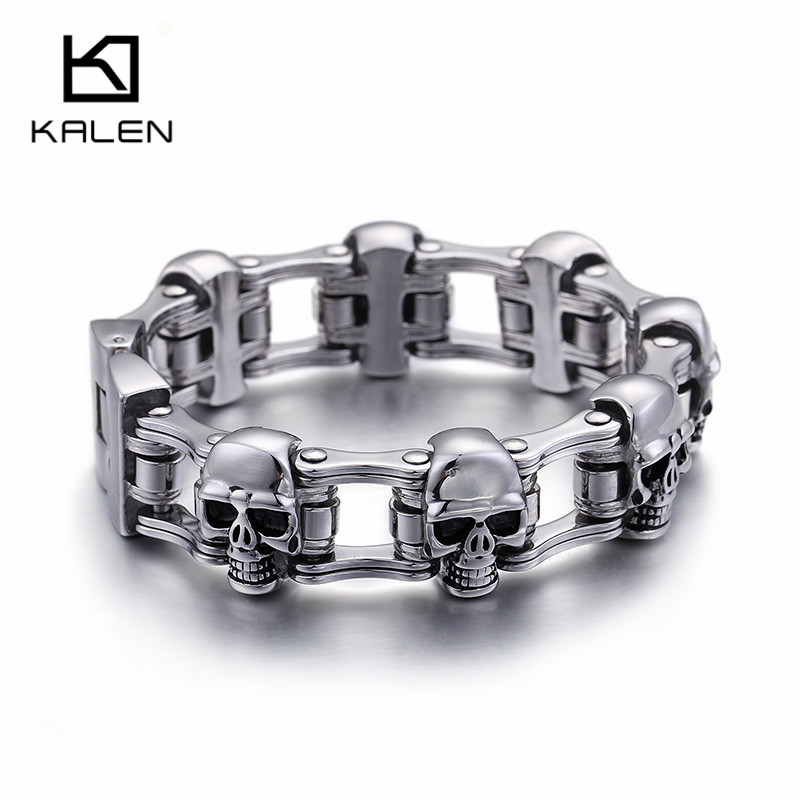 Kalen High Quality Real 316 Stainless Steel Link Chian Bracelets For Men Heavy Chunky Skull Head Charm Bracelet Punk Biker Jewel цена 2017