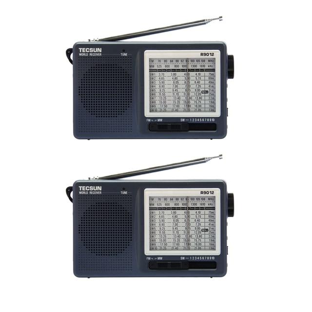 2 unids tecsun r-9012 12 banda de radio fm/am/sw Radio Receptor con Indicador de Sintonización LED Gris de Alta Sensibilidad FM de Radio Y4122H