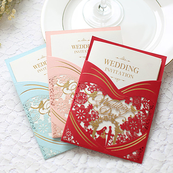 (100 pieces/lot) Laser Floral Love Bird Customize Print Pink Wedding Invitations Bride & Groom Marriage Invitation Card IC124R