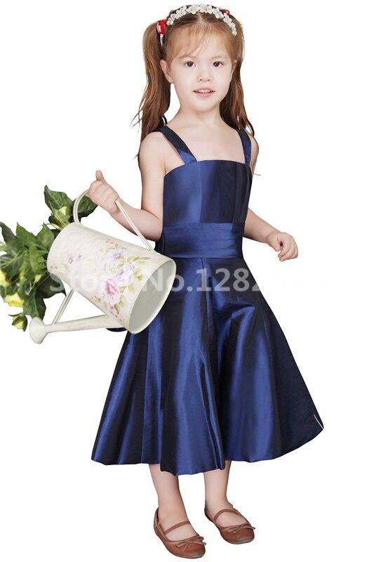5ce4622700d4 Navy Blue Flower Girl Dresses Economici Semplice Arco Prima Comunione Abiti  Damine Gown Bella vestido de daminha in Navy Blue Flower Girl Dresses  Economici ...