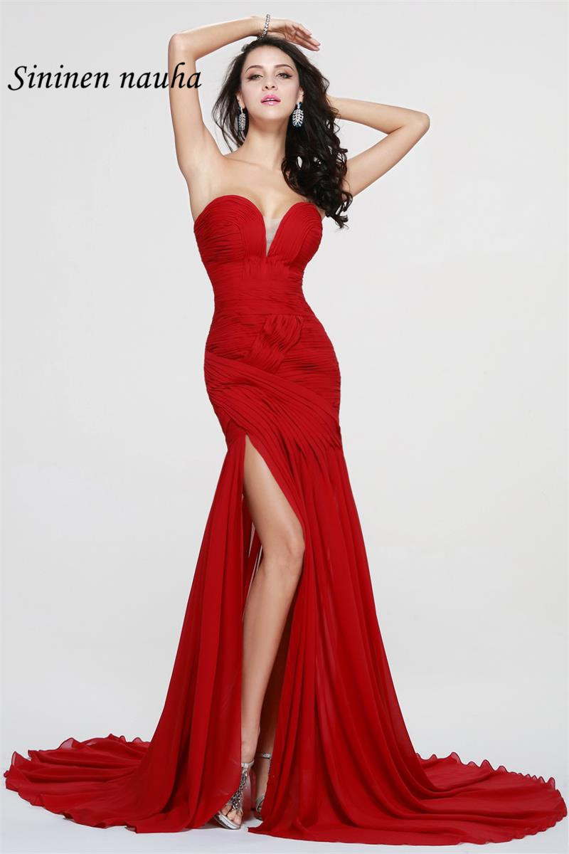 Sexy Red Long Evening Prom Dresses V Neck High Slit Plus