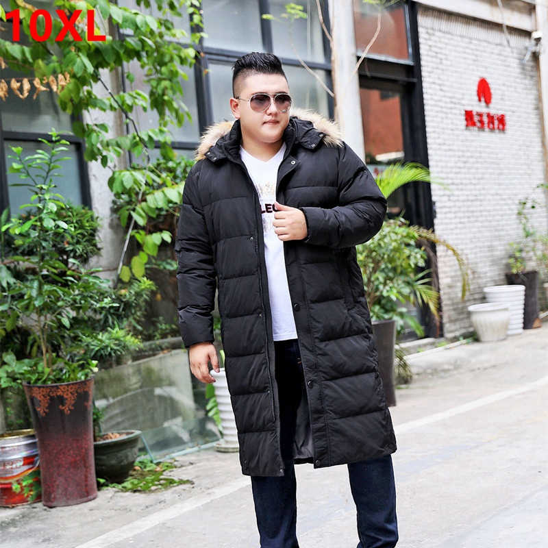 Winter plus size fur collar tall warm white down jacket long male thick knee thickening with cap size X-long 10XL 9XL 8XL australia new white goose down jacket female long thick knee thickening slim size winter coat