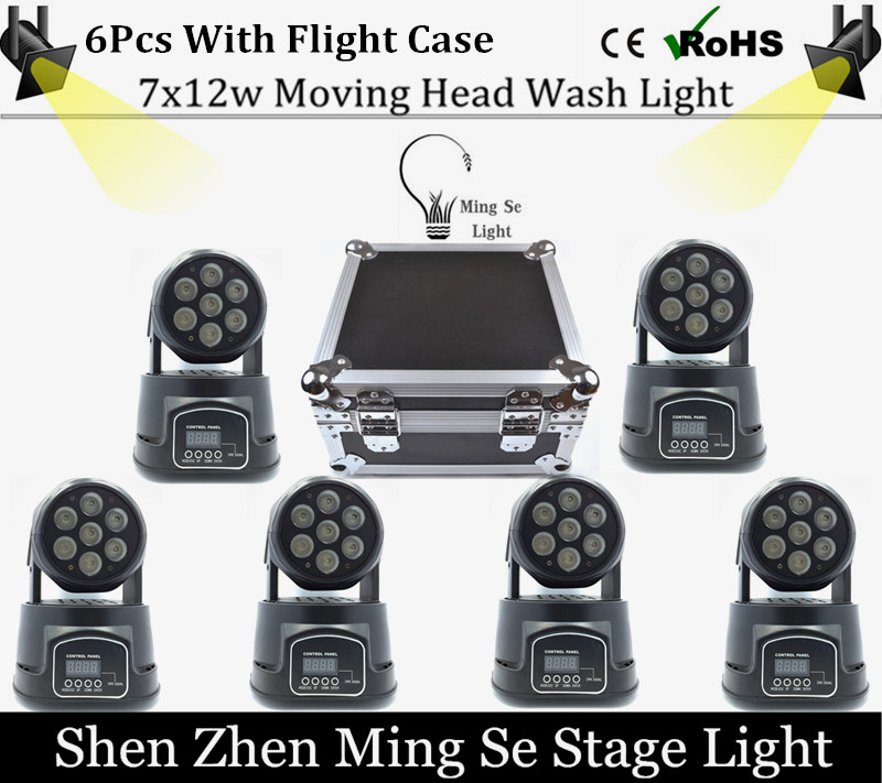 Best 6Pcs/lot 7x12W RGBW 4in1 quad led wash moving head light wtih flight case LED stage lights Mini LED Moving Head 14 channels 4piece lot 3x3 led matrix moving head light matrix rgbw 4in1 9x10w led cree led stage lights