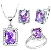 NEW 925 sterling silver set made of Austria crystal foreign trade high-end jewelry