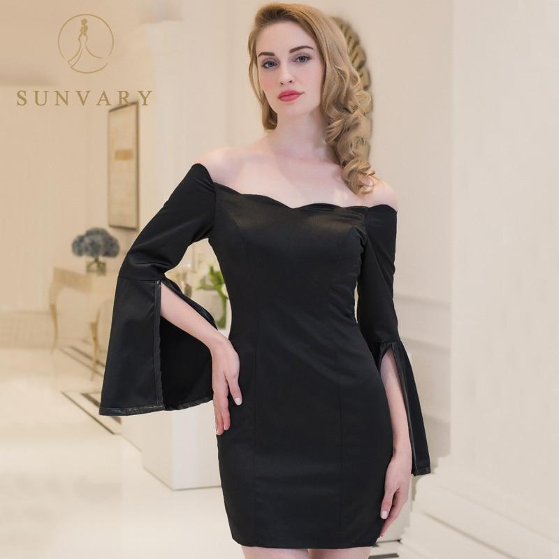Sunvary черные короткие Мамам молодожёнов Flare рукавом атласное свадебное платье для мамы с плеча Простой вечерние платье