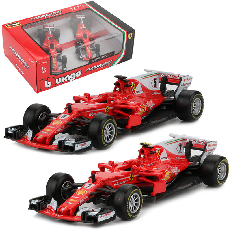 2pcs Bburago 1:43 Formula 1 Racing Car Toy Alloy SF70H No. 5 No. 7 F1 Racing Cars Metal Model Decor Boys Toys bburago 1 18 458 alloy supercar model favorites model