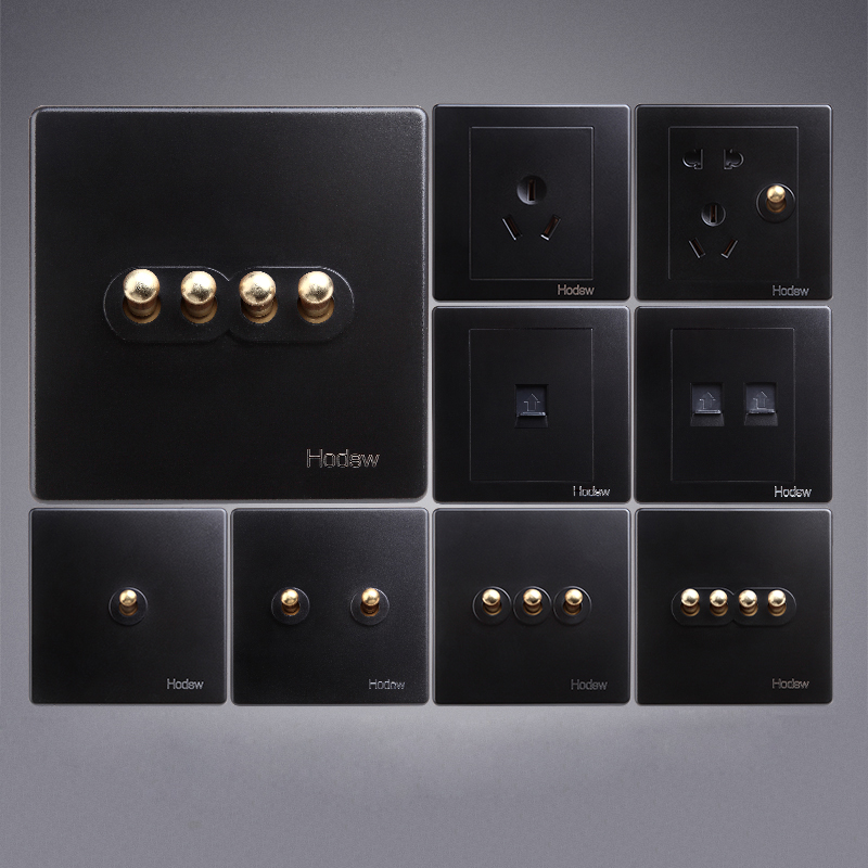 High Quality Type 86 Retro Black Wall Lamp Switch BE Brass Lever Single Dual Control 1-4 Gang Toggle Switch
