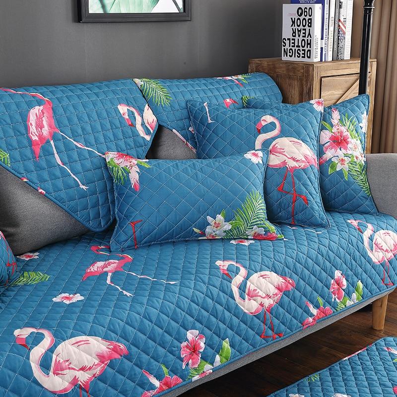 Hoge Kwaliteit Flamingo Sofa Cover Set Katoen Stretch Meubelen Couch Elastische Stof Kussen Single/twee/drie Zits Hoes 1 Pc