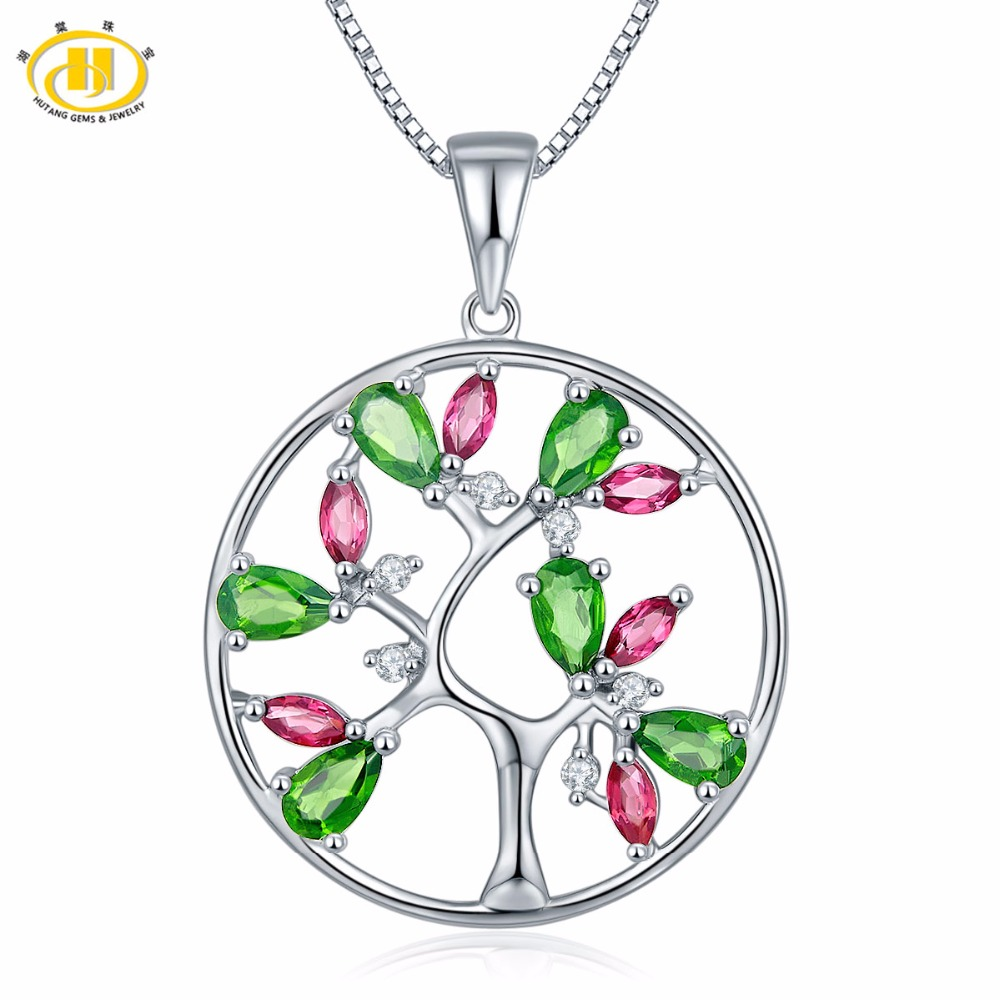 Hutang Natural Chrome Diopside Rhodolite Garnet Tree Pendant 925 Sterling Silver Topaz Gemstone Necklace Fine Jewelry For GiftHutang Natural Chrome Diopside Rhodolite Garnet Tree Pendant 925 Sterling Silver Topaz Gemstone Necklace Fine Jewelry For Gift