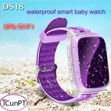 Niños gps smart watch ds18 wifi gps localizador rastreador kid reloj de pulsera impermeable smartwatch llamada sos niño para ios android