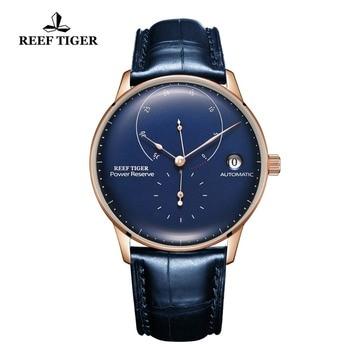 цена 2020 Reef Tiger/RT Top Brand Luxury Casual Watches Mens Blue Genuine Leather Strap Automatic Watch RGA82B0-2 онлайн в 2017 году
