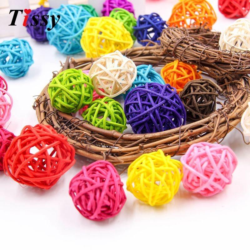 30pcs 3cm/4cm/5cm Mixed Size Rattan Ball Sepak Takraw for Christmas Birthday Party Decoration Wedding Party Supplies