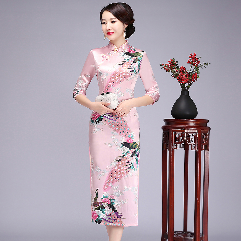 Chinese Style Female Qipao Elegant Women Slim Long Cheongsam Vintage Print Mandarin Collar Party Dress Vestidos Size S-6XL