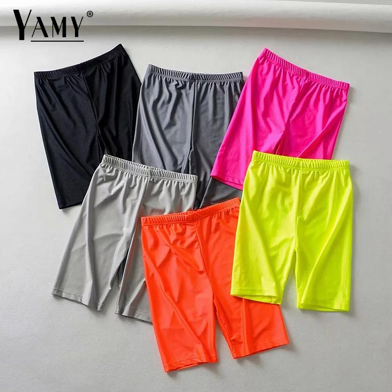 Reflective   shorts   women high waist   shorts   summer punk sweatpants biker   shorts   neon green orange Elastic waist black   shorts