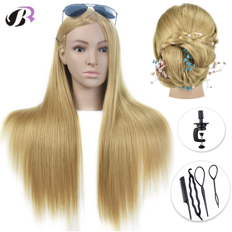 Hot Sale 26 Mannequin Head With Golden Hair Training Hairdressing Practce Dummy Dolls Barber Hairstyles Training