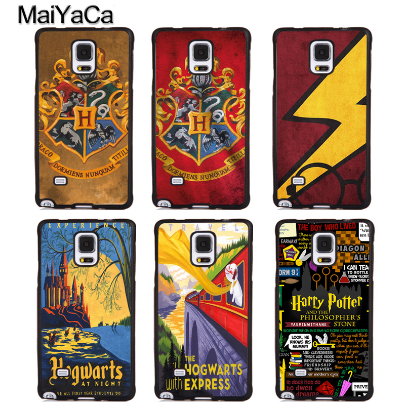 MaiYaCa Harry Potter Hogwarts Retro Vintange Rubber Phone Cases For Samsung Galaxy S5 S6 S7 edge S8 S9 plus Note 5 8 Back Cover